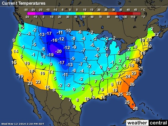 US Weather – Current Temperatures Map (Celsius ...